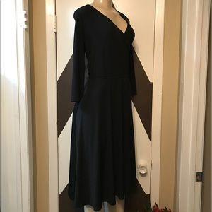 Sandra Darren black faux wrap v midi neck dress.
